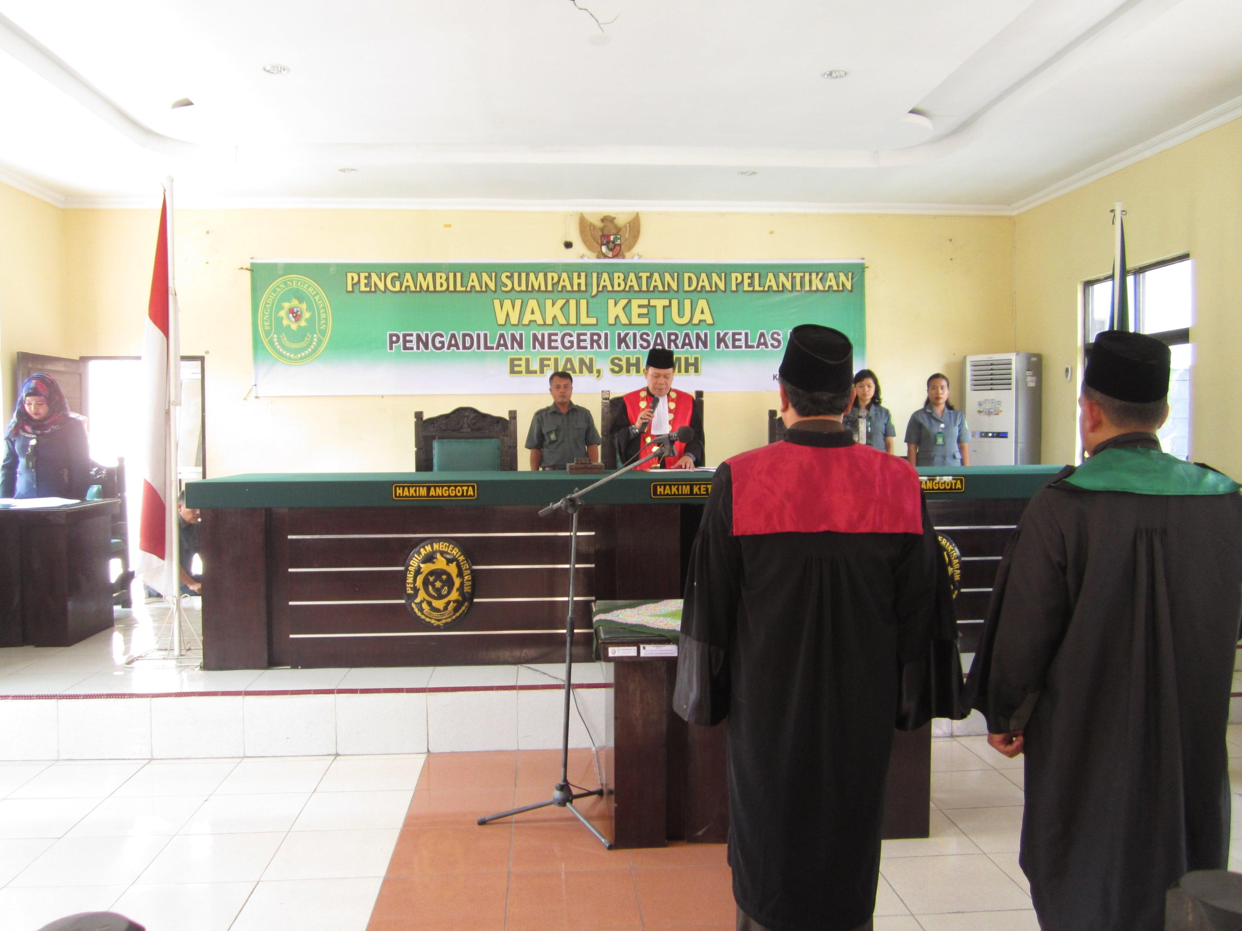 Pengambilan Sumpah Jabatan dan Pelantikan Wakil Ketua Pengadilan Negeri Kisaran Kelas I B