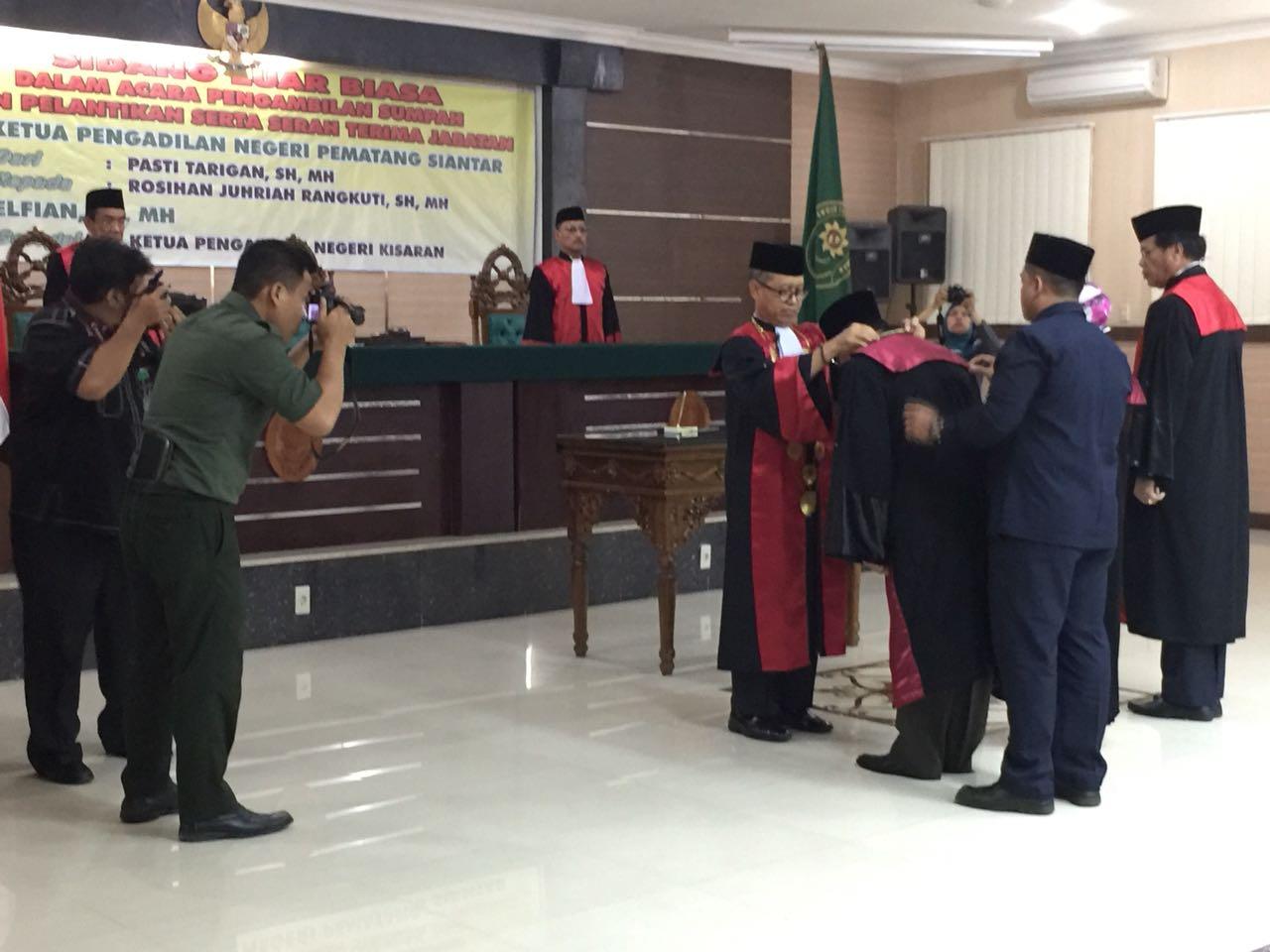 Pengambilan Sumpah, Pelantikan, dan Serah Terima Jabatan Ketua Pengadilan Negeri Kisaran Bapak Elfian,SH.MH